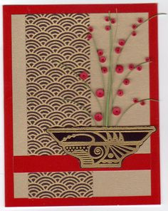 clean lines . vase with cherry blossom branches . Hand Made Greeting Cards, Greeting Cards Handmade, Asian Crafts, Asian Quilts, Chinese New Year Card, Japanese Quilts, Quilling Patterns, Beautiful Handmade Cards, Card Making Inspiration