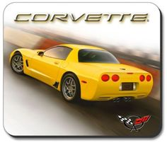 C5 Z06 Yellow Corvette Computer Mouse Pad featuring a non-slip rubber backing that will work with any mouse type, optical or ball. Image is a clear, highly detailed representation. Spruce up your work