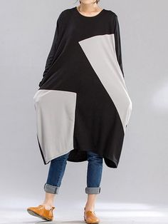 Casual Vrouwen Patchwork Loose Long Sleeve Mid-long Dress