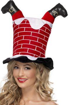 santa stuck in chimney christmas hat
