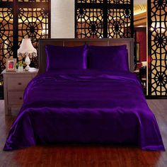 Satin Bedding, Duvet Bedding Sets, Comforters, Purple Bedspread, Purple Comforter, Purple Sofa, King Size Sheets, I Need U, Satin Sheets