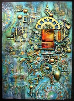 OOAK Mixed Media Collage Assemblage Wall Art   by Paintingmydreams I just love all the texture that's going on here, and the way this diverse assemblage has been brought together with the clever use of colour!
