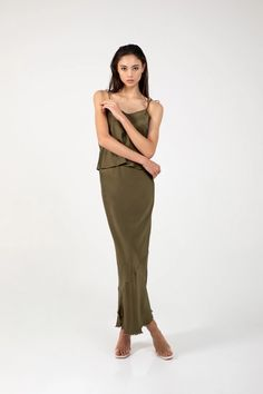 in olive green silk charmeuse Formal Tops, Silk Charmeuse, Green Silk, Olive Green, Chic, Casual, Skirts, Sweaters, Collection