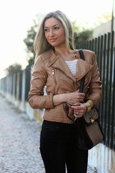 look do dia, ootd, look of the day, biker jacket, camel, ripped jeans, skinny jeans, spring trends, animal print, tendências primavera verão...