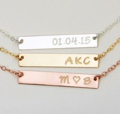 Engravable Gold Bar Necklace, Engraved Bar Necklace, Personalized Rose Gold Bar…