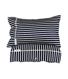 Bal Harbour Bedding - 100% Satin. 300TC. Silky smooth striped bed linen in navy blue and white, with white buttons and a white piping. By Newport Collection