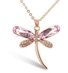 cristal joyas de diamantes simulados oro color cristalino de la libélula colgante de collar k358