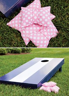 custom bags for cornhole matching the party theme... {Pink & Navy} Preppy Tie Birthday Party