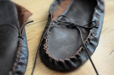 Make yourself a custom pair of traditional moccasins. Learn how to work with and how to hand stitch leather. Choose to create one of two styles, either a fringed bootie or  scout moccasin. Commercial pattern included.