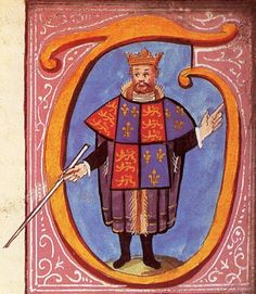 Thomas Hawley, Clarenceux King of Arms as depicted in the initial letter of a grant of arms to John Fennar in 1556. (College of Arms, Great-Britain). He is wearing a tabard displaying the Royal arms of England. The manuscripts from his first tour of London are the earliest existing records of an English visitation.