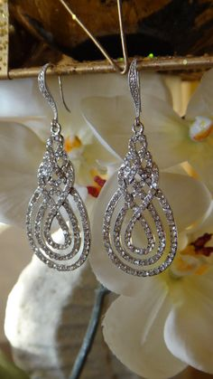 Wedding Jewels Crystal Drop Earrings Bridal by VintagePinch