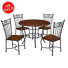 f1d32ff4d30 Compact Dinette Set with 4 Chairs Round Table Wooden Metal Furniture 5PC  Industrial Contemporary Space Saver. Kitchen Table ChairsDining Room ...