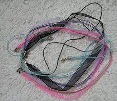 4 organza ribbon and waxed cord necklaces by NanaLetha on Etsy, $2.75