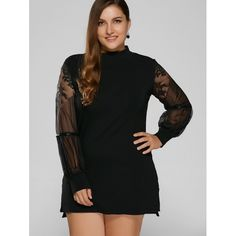 22.28$  Buy now - http://dimwf.justgood.pw/go.php?t=198696802 - Lace Splicing Mini Plus Size Dress 22.28$