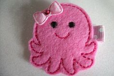 Boutique Embroidered Felt  Pink Octopus Hair by pachwilliamson, $3.00