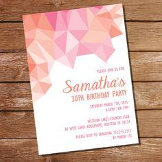 Pink and Orange Geometric Birthday Invitation  by SunshineParties on Etsy #PinkAndOrange #30thBirthday