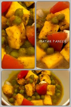 Matar paneer is a popular vegetarian north Indian dish consisting of matar (green peas) and paneer (cottage cheese). This dish is made more often in dinner or for lunch. Indian Food Recipes, Healthy Recipes, Green Peas, Homemade Recipe, Indian Dishes, Cottage Cheese, Curries, Vegetarian, Tasty