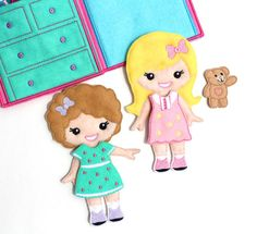 Embroidered Felt Dress Up Dolls and Dollhouse Carrying Case