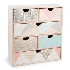 Boîte 6 tiroirs en bois H 34 cm ANJA