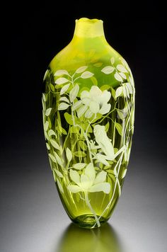Tropics and Frog art glass vase by Cynthia Myers                                                                                                                                                                                 More