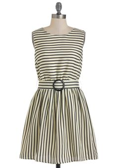 Are You Free Tonight? Dress - Mid-length, Tan / Cream, Black, Stripes, Cutout, Belted, Casual, Sleeveless, Spring