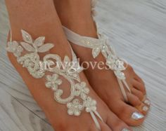 Handmade ivory french lace sandals, wedding anklet, Beach wedding barefoot sandals, embroidered sandals.