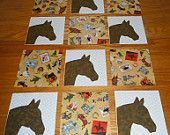 Set of 12 Western Cowboys and Horse Head  Quilt Top Blocks   ...Free Shipping...