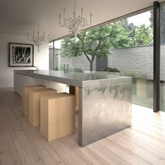 Unique stainless steel kitchen island design idea. See 64 more kitchen island design ideas at