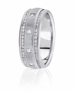 Round Channel Set Diamons Encompass A Center Of Burnished Princess Cut Diamonds In This Unique Eternity Wedding Band For Both Men & Women