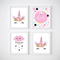 Unicorn Nursery Room Prints Kids wall decor 4 Print Set