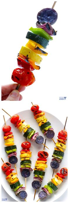 Rainbow Veggie Skewers -- a delicious and colorful side that's perfect for grilling in the summertime! gimmesomeoven.com