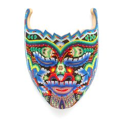 Spring Maiden Huichol Indian Beaded Mask With Blue Deer