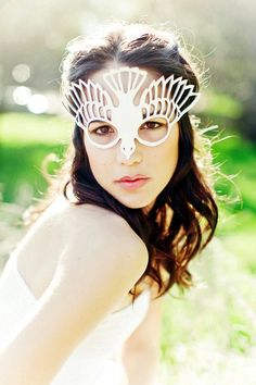 Bird leather cut out mask in white. $39.00, via Etsy.