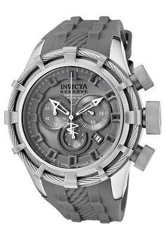 New Mens Invicta 1374 Bolt Reserve Swiss Chronograph Grey Dial Grey Rubber Watch