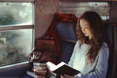 "bookporn: "" The traveling bibliophile by Marta Bevacqua (martabevacquaphotos) Website | Tumblr | Facebook | Instagram | Behance """