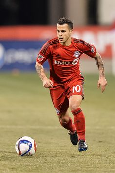 Sebastian Giovinco of the Toronto FC in action against the Columbus Crew SC on March 14 2015 at MAPFRE Stadium in Columbus Ohio Columbus Crew, Toronto Fc, Mls Soccer, Association Football, Professional Soccer, Major League Soccer, Men In Uniform, Football Boots, Best Player
