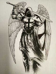 Tattoos Discover Angel de la muerte - My list of best tattoo models Angel Warrior Tattoo Guardian Angel Tattoo Warrior Tattoos Angel Tattoo Men Tattoo Drawings Body Art Tattoos Hand Tattoos Sleeve Tattoos Archangel Michael Tattoo