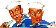 Vintage Navy Sailors Smiling on Leave Quilting Fabric Block