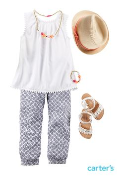 Our new jogger pant will make her summer style a breeze. Fun accessories complete the look. Find it all at Carter's.