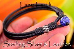 7B-022  Sterling Silver Lapiz Lazuli & Leather New Bangle Wristband Men Bracelet