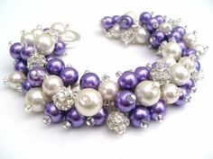 Bridal Jewelry Purple Wedding Pearl Bridesmaid by KIMMSMITH