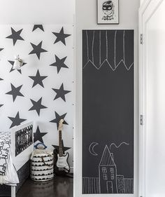 Especially in a small home, it can be be hard finding a place for kids to do art. A chalkboard wall just for them can be reused over and over for drawing and doodling.