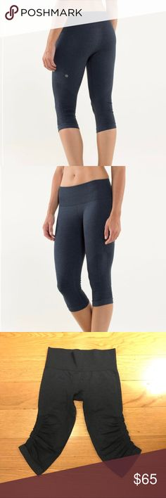 Lululemon In The Flow Crop II Lululemon In The Flow Crop II in Heathered Inkwell. -Size 6. -Color: Heathered blue.  -Like new, no flaws.  NO Trades. Please make all offers through offer button. lululemon athletica Pants