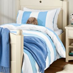 Add a fresh touch to the bedrooms in your home with fun stripy linen from Feather and Black. Cool down with bright and fresh shades of summer in citrus lime, sky blue and navy for boys, and candy-stripe pink for girls. From Wysada.com