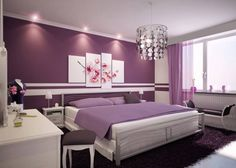 Home Interior Pedia Interior Wandfarbe Design-Ideen Inspirage Info Lila Wohnzimmer Lila Wandfarbe Id Purple Master Bedroom, Purple Bedroom Design, Best Bedroom Colors, Purple Bedrooms, Bedroom Paint Colors, Bedroom Color Schemes, Bedroom Designs, White Bedroom, Small Bedrooms