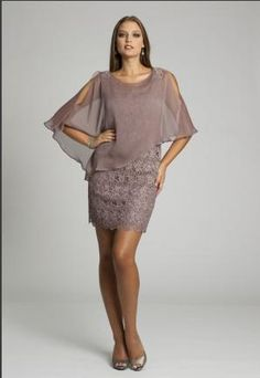 2014 New Style Sheath/Column Bateau Half Sleeve Short/Mini Mixed with Chiffon and Lace Mother of Bride Dress