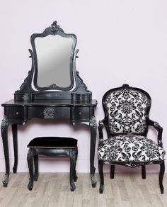 Chateau French Style Boudoir £350.00 Black Dressing Table, Mirror & Stool Set in Home, Furniture & DIY, Furniture, Dressing Tables | eBay