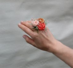 Peach Pink And Goden Brown  Hand Made  Flowers Ring Vintage Antique Rose Fabric Flowers Ring , Perfect For Wedding, Bridesmaids And Formal on Etsy, $38.00