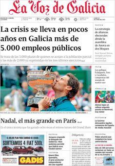 Los Titulares y Portadas de Noticias Destacadas Españolas del 10 de Junio de 2013 del Diario La Voz de Galicia ¿Que le parecio esta Portada de este Diario Español?