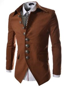 Steampunk mens jacket, Button Front Blazer Jacket                                AT vintagedancer.com